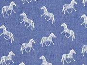 Chambray Zebras, weiß jeansblau