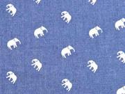 Chambray Elefanten, weiß jeansblau