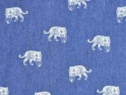 Stretchjeansstoff Tiger, weiß jeansblau