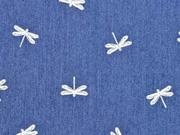 Stretchjeansstoff Libellen, weiß jeansblau