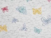 Jersey bunte Schmetterlinge, weiß grau meliert