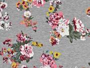 Sweat Blumen angeraut, grau melange