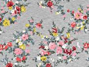 Sweat Blumenranken angeraut,  grau melange