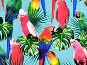 Jersey Digitaldruck Papageien Palmblätter, jeansblau