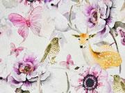Jersey Digitaldruck Blumen Schmetterlinge Rehe Vögel, cremeweiß