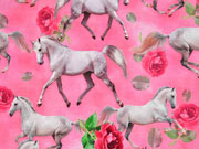 Jersey Digitaldruck Pferde Rosen, rosa