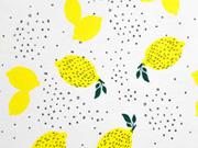 RESTSTÜCK 84 cm Jersey mit Duft Zitronen kleine Kreise, gelb weiß