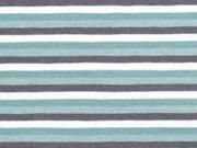 Jersey Ringelstreifen 3 mm garngefärbt, dunkelmint altmint grau weiß
