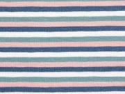 Jersey Ringelstreifen 3 mm garngefärbt, altrosa altmint dunkles jeansblau weiß