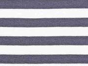 Jersey Streifen 1 cm garngefärbt, dunkelgrau weiß