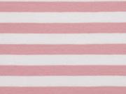 Jersey Streifen 1 cm garngefärbt, altrosa weiß