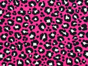 RESTSTÜCK 75 cm Jersey Leoparden Muster, schwarz pink
