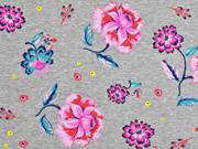 Sweatshirtstoff Blumen angeraut, hellgrau meliert