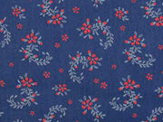 Baumwollstoff Dirndl Stoff Romantico Streublümchen, rot dunkelblau