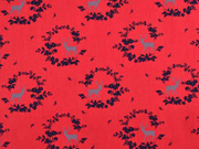 Baumwolle Dirndl Stoff Romantico Blumen Hirsche, dunkelblau rot