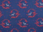 Baumwolle Dirndl Stoff Romantico Blumen Hirsche, rot dunkelblau