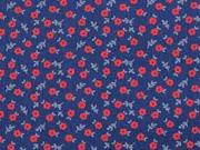 Baumwolle Dirndl Stoff Romantico Streublumen, rot dunkelblau