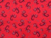 Baumwollstff Dirndl Stoff Romantico Streublumen, dunkelblau rot
