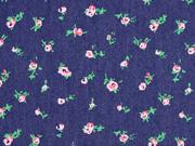 Jeansstoff Blümchen elastisch, rosa dunkelblau