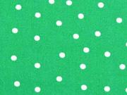 Baumwolle unregelmäßige Punkte 3mm, weiß auf grün