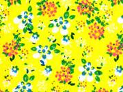 Baumwolle Blumen, bunt auf gelb