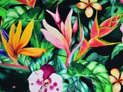 Jersey Digitaldruck Dschungel Blumen Blätter Orchideen, grün schwarz
