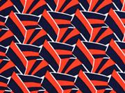 Viskose grafisches Muster italienischer Stil, weiß rot dunkelblau