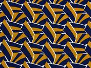 Viskose grafisches Muster italienischer Stil, weiß camel dunkelblau