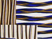 Viskose Linien Rechtecke italienischer Stil, blau camel weiß