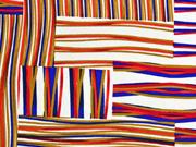 Viskose Linien Rechtecke  italienischer Stil, rot camel weiß