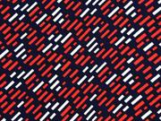 Viskose kleine Rechtecke  italienischer Stil, rot weiß dunkelblau