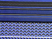 Viskose Streifen Bordüren italienischer Stil, schwarz weiß blau