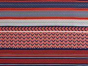 Viskose Streifen Bordüren italienischer Stil, weiß dunkelblau rot