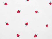 Baumwollstoff kleine Erdbeeren, rot weiss