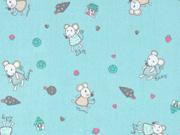 Baumwollstoff Mäuse Häuser Bäume, mint