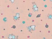 Baumwollstoff Mäuse Häuser Bäume, hellapricot