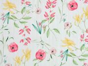 Baumwolle Blumen Streifen, hellmint