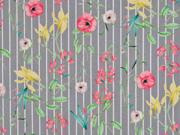 Baumwolle Blumen Streifen, grau