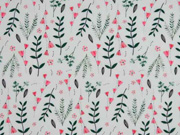 Baumwolle Zweige Blumen, hellmint