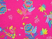 Jersey Blumen Blätter Vögel, bunt pink