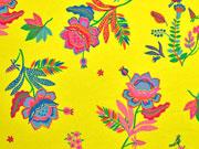 Jersey Blumen Blätter Vögel, bunt gelb
