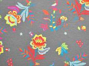 Jersey Blumen Blätter Vögel, bunt taupe
