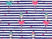 Jerseystoff Streifen 5 mm Ballerinas, marineblau weiß
