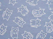 Jersey Katzen Doodle Cats, weiß rauchblau