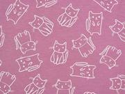 Jersey Katzen Doodle Cats, weiß dunkles altrosa