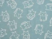 Jersey Katzen Doodle Cats, weiß altmint
