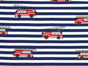 Jersey Streifen 7 mm Feuerwehrfahrzeuge, rot dunkelblau weiß