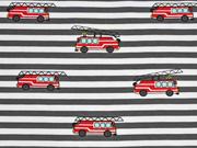 Jersey Streifen 7 mm Feuerwehrfahrzeuge, rot grau weiß