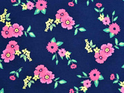 RESTSTÜCK 22 cm Jersey Blumen Blätter, rosa pink dunkelblau