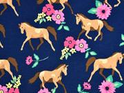 Jersey Pferde Blumen, beige dunkelblau